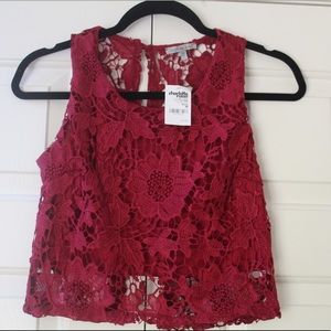 NWT Burgundy Lace Top